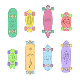 Skateboards and longboards vector set cartoon style. Stock Images