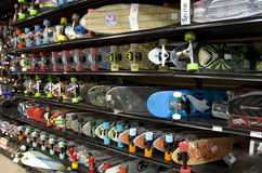 Skateboards in store Stock Photos