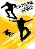 Skateboardsport på grungebakgrund Stock Illustrationer