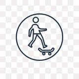 Skateboardvektorikone lokalisiert auf transparentem Hintergrund, linea stock abbildung