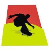 skateboradåkare för silhouette ii Arkivfoto