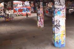 Skateboradåkare på den södra banken, London Arkivfoto
