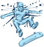 Skateboradåkarehandattraktion stock illustrationer