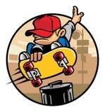 Skateboradåkarepojke som gör ett trickhopp Royaltyfri Bild