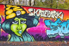 Skatepark d'art de mur de briques de graffiti en Allemagne Photos stock