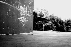 Skatepark edge. Crisp black and white image from a local skatepark in Johannesburg Royalty Free Stock Photography