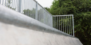 Skatepark Halfpipe Hand Rail. The Handrail at the top of the Halfpipe Stock Images