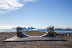 Skatepark in Qeqertarsuaq, Groenland royalty-vrije stock foto