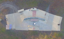 Skatepark. A shot of Welhome`s new skatepark from the air shot with a drone Stock Image