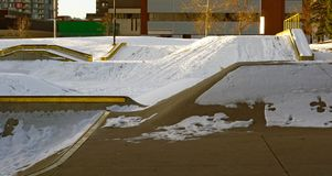 Skatepark in winter with snow royalty free stock images