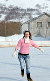 Skater. Beautiful girl learns to skating on the skate and fall Stock Image