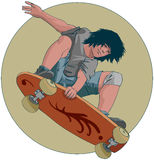 Skater. Drawing of a young skater Stock Image