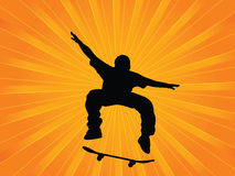 Skater. Silhouette skater on a abstract background Stock Images