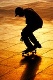 Skater. Silhouetted skater on London's South bank stock images
