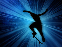 Skater. Young skater on blue background with motion effect Stock Image