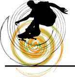 Skater in action. Illustration of Skater with abstract background Stock Image