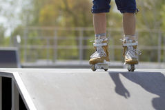 Skater in aggressive in-line rollerblades Royalty Free Stock Photo