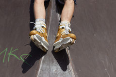 Skater in aggressive in-line rollerblades Stock Photo