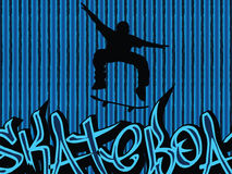 Skater background. Skater illustration with graffiti text on a blue lines background Stock Photos