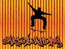 Skater background orange. Skater illustration with graffiti text on a orange lines background Royalty Free Stock Image
