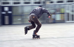 Skater blured - film grain. Skater in a shopping mall - Karlsruhe - Germany Royalty Free Stock Photos