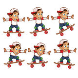 Skater Boy Jumping Cartoon Sprite. Cartoon Illustration of Skater Boy Jumping Cartoon Sprite Stock Photos