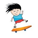 Skater boy jumping on a orange board Stock Photos