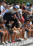 Skater boy performs during contest at Street Heroes urban festival Stock Image