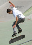 Skater boy performs during contest at Street Heroes urban festival Stock Images