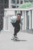 Skater boy on the street in Bangkok. stock image