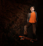 Skater Boy With A Cool Attitude. Grunge Style Royalty Free Stock Photography