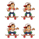 Skater BoyLowering His Body Cartoon Sprite Royalty Free Stock Image