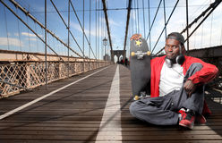 Skater on Brooklyn bridge Royalty Free Stock Photo