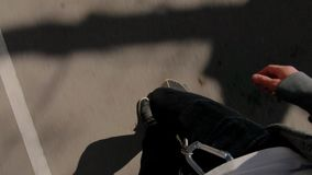 Skater on city street, top view stock footage