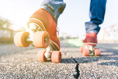 Skater close up in action Royalty Free Stock Photography