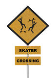 Skater Crossing Caution Road Sign Royalty Free Stock Photo