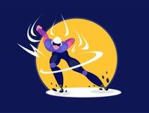 Skater da velocidade Arena de patinagem do gelo da velocidade olímpica do atleta do speedskater ilustração do vetor