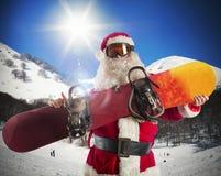 Skater de Papai Noel Fotos de Stock
