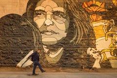 Skater delante del arte de la calle Imagenes de archivo