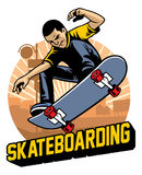 Skater do the skateboard jumping trick Stock Images