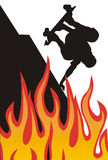 Skater on fire. Flames, sillhouette illustration royalty free illustration