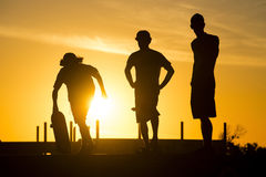 Skater friends at skate park on summer day Royalty Free Stock Image
