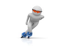 Skater front view. 3d isolated characters on white background series Stock Images
