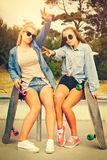 Skater Girl Friends Stock Photos