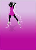 Skater girl, ice dance background. Skater girl, ice dance invitation poster or flyer background with space Stock Photo