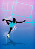 Skater girl, ice dance background. Skater girl, ice dance invitation poster or flyer background with space Stock Images