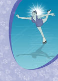 Skater girl, ice dance background Stock Photo