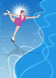 Skater girl, ice dance background. Skater girl, ice dance invitation poster or flyer background with space Stock Image