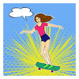Skater girl in pop art style. Skateboarding. Dotted; rays; pop art, ackground pin up pattern. Comic speech, thought bubble. Comic Royalty Free Stock Image