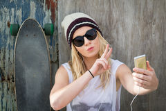 Skater Girl Taking Selfie Stock Images